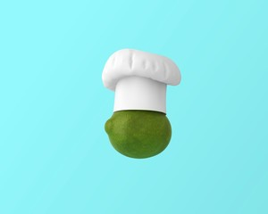 Chef hat with lemon concept on pastel blue background. minimal idea food and fruit concept. An idea creative to produce work within an advertising marketing communications or artwork design.