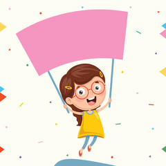 Vector Illustration Of Kid Holding Placard