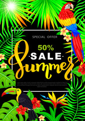 Summer sale vertical poster with parrot toucan tropical flowers and leaves on black background