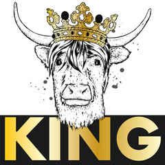 Bull with horns in the crown. Vector illustration.