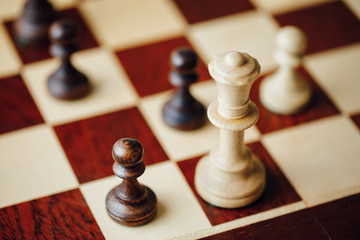 chess game in action, closeup view