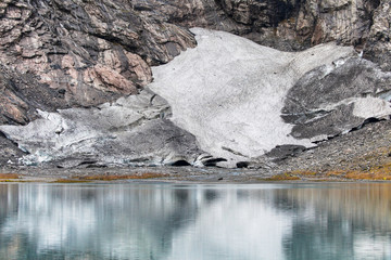 Boyabreen Glacier Reflected on the Brevatnet Lake