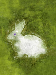 white easter rabbit in the green grass digital painting