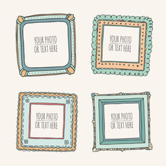 Set of square hand drawn beautiful photoframes isolated on white background. Scrapbook concept. Doodle vector illustration.