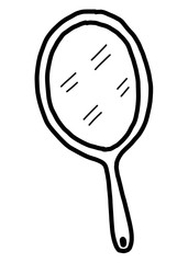 mirror  / cartoon vector and illustration, black and white, hand drawn, sketch style, isolated on white background.