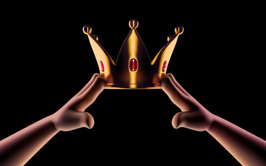 Hands cartoon are wearing a golden crown on head copy space isolated on dark background. Winner. Leader. Selfish person. Award ceremony concept.  3d render