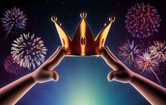 Hands cartoon are wearing a golden crown on head copy space on a background with fireworks. Winner. Leader. Selfish person. Award ceremony concept. 3d render