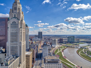 LeVeque Tower Downtown Columbus Scioto River
