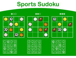 Three sudoku grids with cartoon sports balls