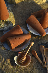 raw sugar cones called piloncello and honey Mexican cooking