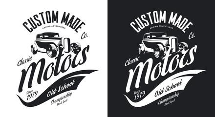 Vintage custom hot rod motors black and white tee-shirt isolated vector logo.  Premium quality old sport car logotype t-shirt emblem illustration. Street wear hipster retro badge tee print design.