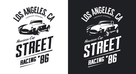 Vintage roadster car black and white isolated vector logo.  Premium quality old sport vehicle logotype t-shirt emblem illustration. Los Angeles racing street wear hipster retro tee print design. Wall mural
