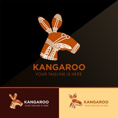 ABORIGINAL KANGAROO ETHNIC ART SYMBOL VECTOR ICON LOGO TEMPLATE