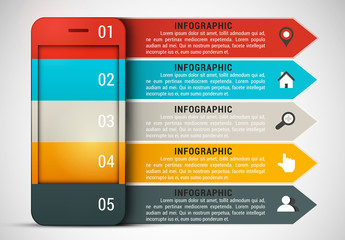 Smartphone and Arrow Element Business Infographic with Grayscale Icon Set