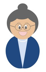 Senhora de óculos com roupa azul