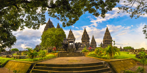 Panorama of the complex of ancient temples of Prambanan