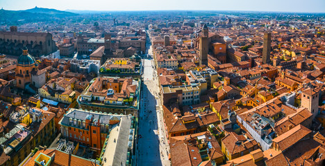 Panorama of Bologna from a bird's eye view