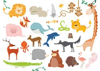 Creative Cute Wild Animals vector illustrations