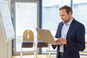 Businessman working on a presentation