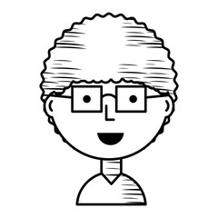 sketch of Cartoon man with glasses icon over white background vector illustration