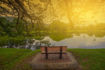 Single lonely chair near the nature lake during sunrise.