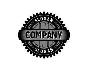 Brewing Factory - Gear with Barrel and Wheat Circle Symbol Ventage Retro Logo Vector