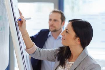 Businesswoman writing on a flip chart