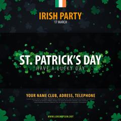 Saint Patricks Day invitation card with clover. Vector illustration