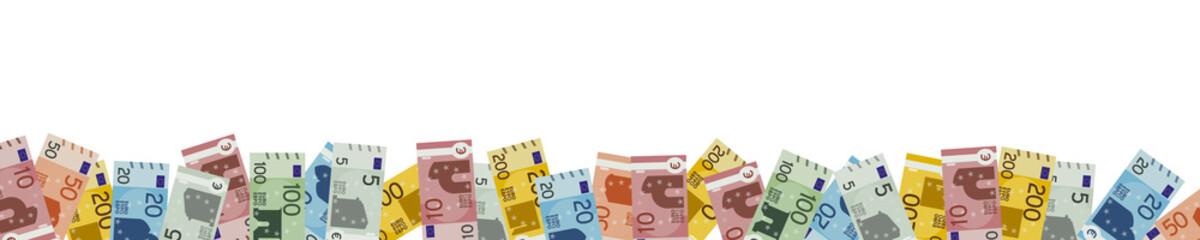 Banner mit vielen Euro Geldscheinen - Panorama