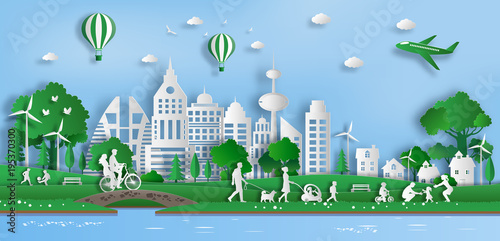 Paper Art Style Of Landscape With Eco Green City People
