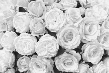 White roses are handmade artificial flowers.