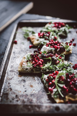 Flatbread with Ricotta and Pomegranate Salsa