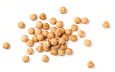 uncooked chickpea isolated on white, top view