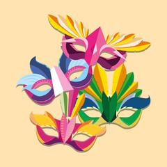 Carnival masks icon over orange background, colorful design vector illustration