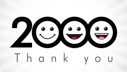 Thank you 2000 followers numbers. Congratulating black and white thanks, image for net friends in 3 three colors, customers likes, % percent off discount. Round isolated emoji smiling people faces.