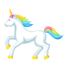 Fantasy pretty white unicorn with colorful mane. Cartoon illustration
