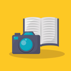 Photographic camera and book over yellow background, colorful design. vector illustration