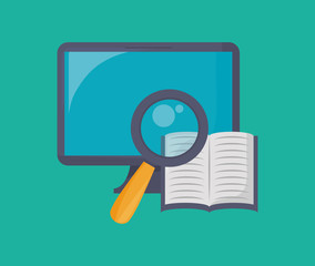 Computer monitor and book with magnifying glass icon over turquoise background, colorful design vector illustration