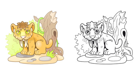 cartoon cute saber-toothed tiger, funny illustration