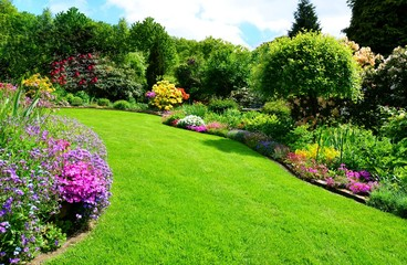 Fotobehang Tuin beautiful garden with perfect lawn