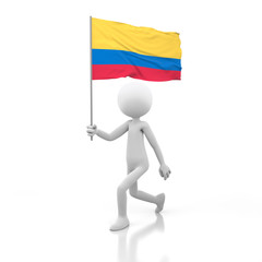 Small Person Walking with Colombia Flag in a Hand