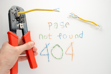 Error page 404, page not found, twisted pair and scissors