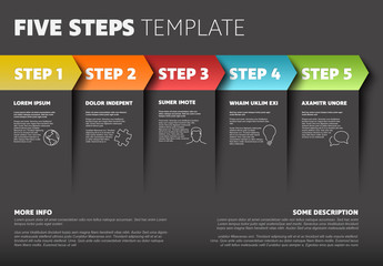 Five Step Infographic Layout with Colorful Overlapping Arrows