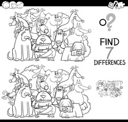 find differences game with dogs coloring book