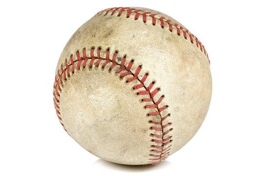 worn baseball isolated on white background