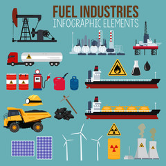 Oil and Fuel Industry Infographics Elements