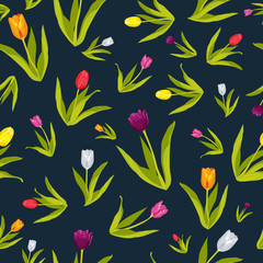 Tulip Flowers Wallpaper Seamless Pattern Background