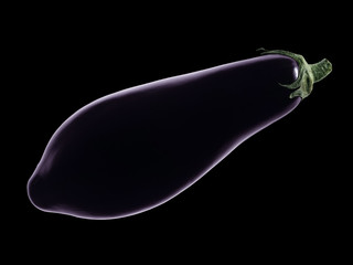 aubergine isolated on a black background.