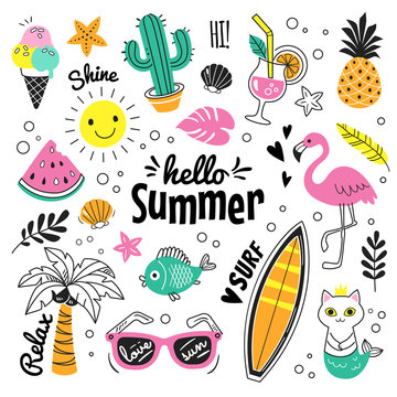 Hello Summer collection. Vector illustration of colorful funny doodle summer symbols, such as flamingo, ice cream, palm tree, sunglasses, cactus, surfboard, pineapple and watermelon.