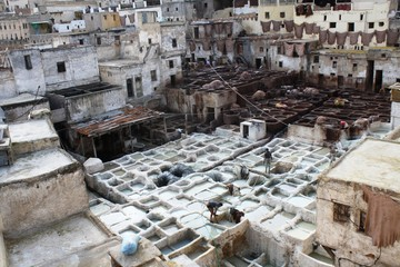 Leather tannery, Morocco